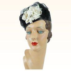 1940s Vintage Hat Black Straw Tilt with White Rose Sz 21 1/2