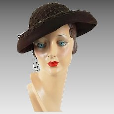 1940s Vintage Hat Soft Brown Veil Covered Tilt Breton Sz 22