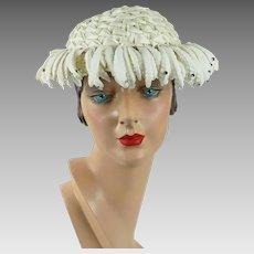 1950s Vintage Hat White Straw Rhinestone Cocktail by Chanda Sz 21