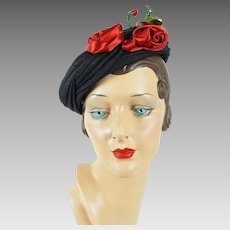 1950s Vintage Hat Black Pillbox with Red Satin Roses