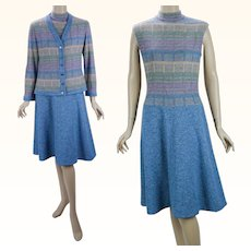 1970s Vintage Dress and Jacket Blue and Pink Dropped Waist by Alfred Werber Sz 12 B36 W30