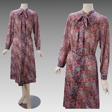 1970s Vintage Dress Sheer Floral Granny with Pussy Bow by Sears Sz XL B46 W36