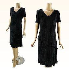 1970s Vintage Black Crystal Pleated Asymmetrical Sack Dress by Connected Sz 12 B38 W38
