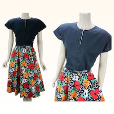 Vintage 1980s Dress Bright Flowered Full Skirt with Black Knit Top B38