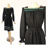 1970s Vintage Dress Black and Teal Polka Dot Border Print Peasant Style B40