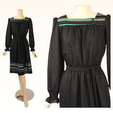 1970s Vintage Dress Black and Teal Polka Dot Border Print Peasant Style B40