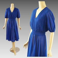 1970s Vintage Dress Royal Blue Sheer Skirt with Crystal Pleat Bodice by Samuel Blue Sz S - M
