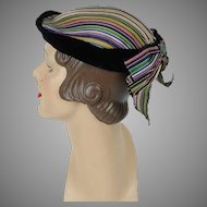 1950s Vintage Hat Multi Colored Stripe with Velvet Trim