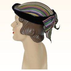 1950s Vintage Hat Multi Colored Stripe with Velvet Trim