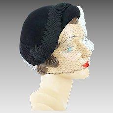 1950s Vintage Hat Black Veiled Asymmetrical Ribbon Trimmed Cocktail