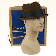 1960s Vintage Trilby Rat Pack Fedora Brown Fur Felt in Original Hat Box Champs Sz 7 1/8
