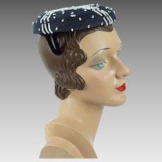 1950s Vintage Hat Navy Blue Straw with White Beading Beret