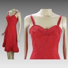 1950s Vintage Slip Red Trafedda Side Zip by Saucy Barbizon Sz 12 Misses B36 W27