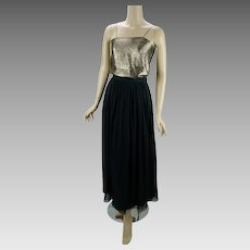 1990s Vintage Formal Gold Lame Top and Black Chiffon Skirt by Mary Ann Restivo Sz 4