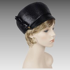 1960s Vintage Hat Black Straw MOD Cap by Oleg Cassini Sz 21 1/2