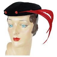 1950s Vintage Hat Black Velvet with Red Feathers Cocktail Beret