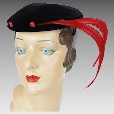 1950s Vintage Hat Black Velvet with Red Feathers Cocktail Beret