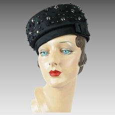1960s Vintage Hat Black Satin Beaded Pillbox by Lilly Dache Dachettes