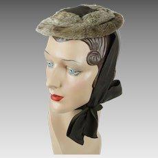 1930s Vintage Hat Fur Pancake Beret with Chin Ribbon