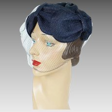 1960s Vintage Hat Navy Blue Draped Straw with Veiling Whimsey