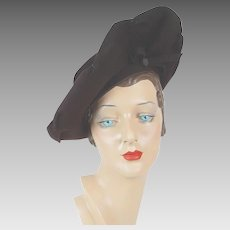 1940s Vintage Hat Dark Brown Felt Asymmetrical Wide Brim Tilt by NY Creations Sz 21 1/2