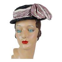 1940s Vintage Hat Black Straw Boater by French Designer Janine Lacroix of Paris