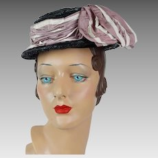 1940s Vintage Hat Black Straw Boater by French Designer Janine Lacroix of Paris