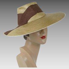 1940s Vintage Hat Straw Chimney Crown Wide Brim Sunhat by Martins Sz 22 1/2