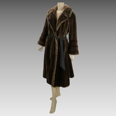 50s - 60s Coat Dark Brown Full Length Faux Mink Fur by Tissavel Career Originals B42 W46