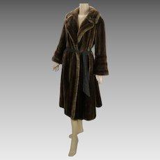 50s - 60s Coat Dark Brown Full Length Faux Mink Fur by Tissavel Career Originals B42 W46