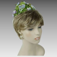 1960s Vintage Hat Green Leaf and Violets Tiny Cone Pixie