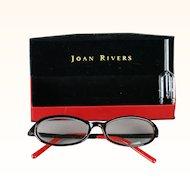 Classic Joan Rivers Rhinestone Eyeglasses Red and Black Readers