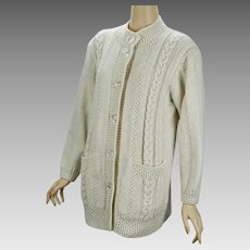 Vintage Hand Knit Handmade Ivory Cardigan Cable Knit Sweater B40