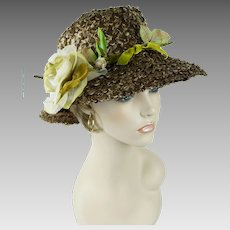 1960s Vintage Hat Taupe Wide Brim Straw with Silk Rose Sz 22