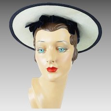 1950s Vintage Hat Navy Blue Wide Brim Straw Trimmed in White