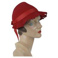 1930s Vintage Hat NOS Red Felt Fringed Brim Sz 22