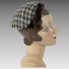 1950s Vintage Hat Brown and Grey Houndstooth Mink Trimmed Cocktail by Betmar