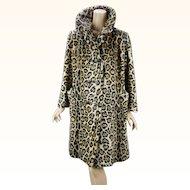 1960s Vintage Stroller Swing Coat Animal Print Faux Fur Leopard Print by Safari B42 W44