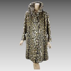 1960s Vintage Stroller Swing Coat Animal Print Faux Fur Leopard Print by Safari B42 W44