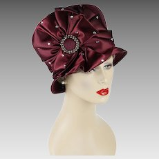 Vintage Church Lady Hat Maroon Rhinestone Cloche NOS by Swan Hat Sz 22 1/2