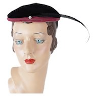 1950s Vintage Hat Black and Pink Velvet with Feather Cocktail Beret by Helen Erickson