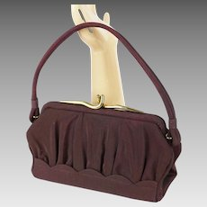 1950s Vintage Handbag Chocolate Brown Gabardine Purse