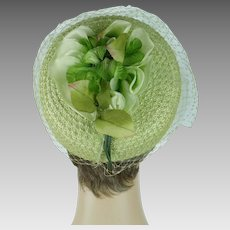 1960s Vintage Hat Lime Green Straw Pillbox with Lime Silk Flowers