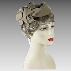 1980s Vintage Hat Camel Teardrop Fascinator with Ribbons by Mr John Classic NWT