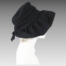 Vintage Hat Black Wool Wide Floppy Brim Sz 21.5