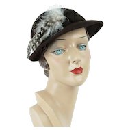 1950s Vintage Hat Brown Felt Feathered Derby Style