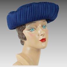 1960s Vintage Hat Medium Blue Voile Pleated Breton