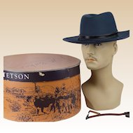 Vintage Stetson Hat Virginia State Trooper Navy Blue with Stetson Hatbox and Strap Sz 7