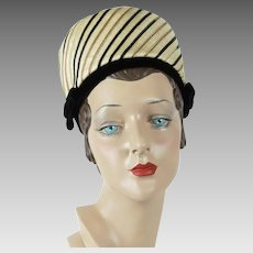 1960s Vintage Hat, Lilly Dache Pillbox,  Dachettes High Rise Pillbox Hat