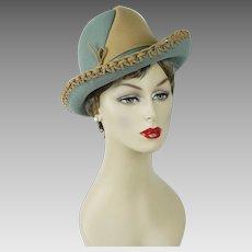 1970s Vintage Hat Two Tone Breton by Mr John Classic Sz 22